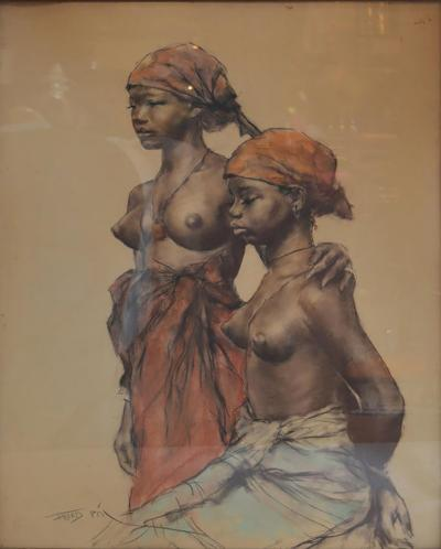 Pal Fried Two Aftrican Woman Pastel on Paper by Pal Fried