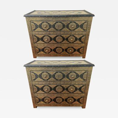 Palatial Hollywood Regency Commode Chest Nightstand in Brass and Ebony a Pair
