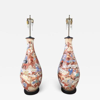 Palatial Pair of 19th Century Japanese Kutani Porcelain Vases as Lamps