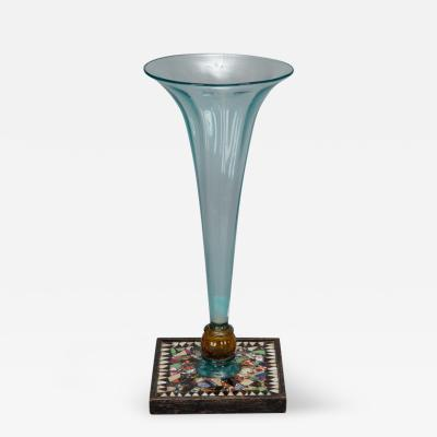 Pale Blue Glass Vase with Mosaic Base