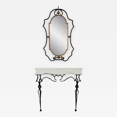 Palladio Italian Gilt Iron Marble Top Console Table and Mirror