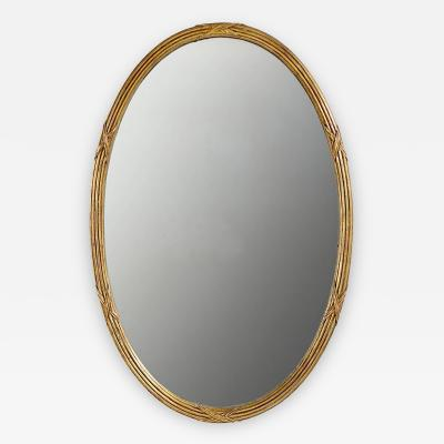 Palladio Palladio Italian Reeded and Gilt Oval Mirror