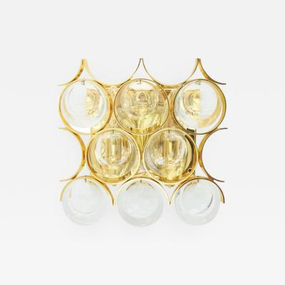 Palwa Single Wall Sconce Gilded Brass and Crystal Glass 1960s