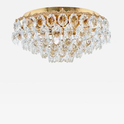 Palwa Six Tiers Crystal Glass Flush Mount Chandelier 1960s