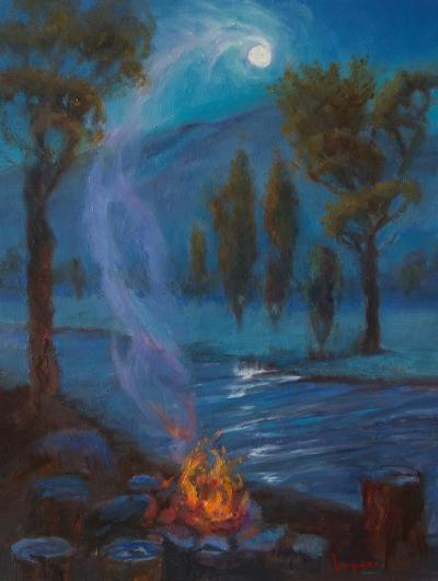 Pamela Ingwers Full Moon over the Roaring Fork