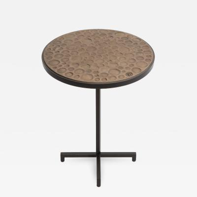 Pamela Sunday re 205 round side table with hand made stoneware tile by Pamela Sunday