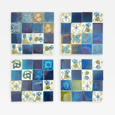 Panel of 16 Authentic Glazed Jugendstil Relief Tiles circa 1930s