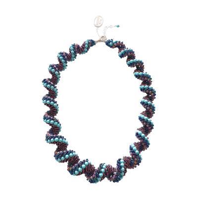 Paola B Murano glass beads hand made blue and purple neklace