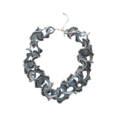 Paola B Murano glass beads hand made blue and silver neklace