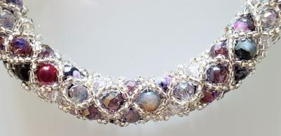 Paola B Murano glass beads hand made purple and silver bracelet by artist Paola B