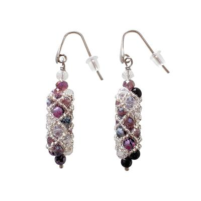 Paola B Murano glass beads hand made purple and silver drop earings by artist Paola B