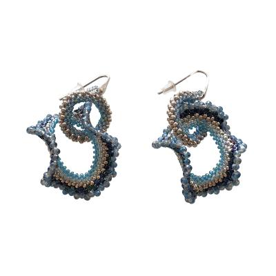 Paola B Pair of drop earings hand made in blue and silver Murano glass