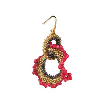 Paola B Pair of drop earings hand made in red and gold Murano glass by Paola B
