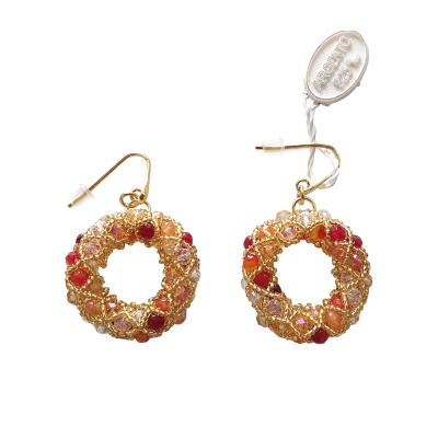 Paola B Pair of gold and red hues Murano glassbeads hand made earrings by Paola B