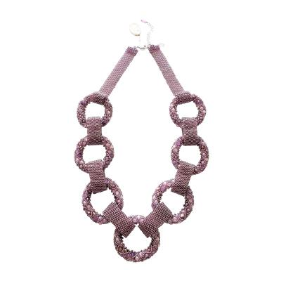 Paola B Purple and pink hues Murano glass beads necklace by Venetian artist Paola B
