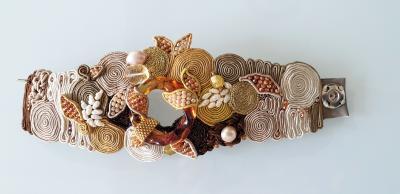 Paola B Unique Murano glass beads fabric costume bracelet by artist Paola B