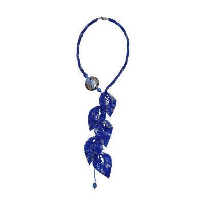 Paola B Unique blue Murano glass beads hand made fashion necklace by artist Paola B