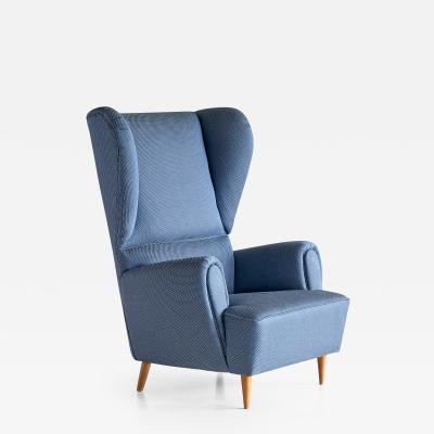 Paolo Buffa 1940s Paolo Buffa Wingback Chair Newly Upholstered in Rubelli Fabric