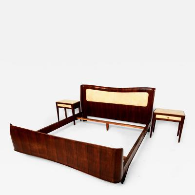 Paolo Buffa 1950 Italy QUEEN Bed Set Sculptural Buffa Headboard Nightstands Walnut Parchment