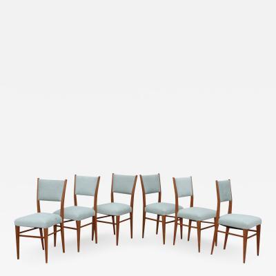 Paolo Buffa 1960s Mid Century Modern Oak Italian Dining Chairs