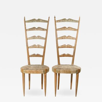 Paolo Buffa A PAIR OF 1950S ELEGANT HIGH BACK SIDE CHAIRS