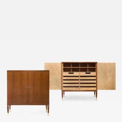 Paolo Buffa A Pair of Italian Brass Maple and Golden Teak Cabinets
