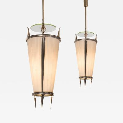 Paolo Buffa A Pair of Italian Glass and Silvered Bronze Lanterns with Fabric Shades
