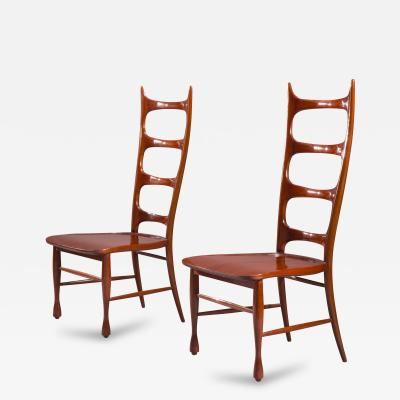 Paolo Buffa A Pair of Italian Mahogany Ladder Back Chairs