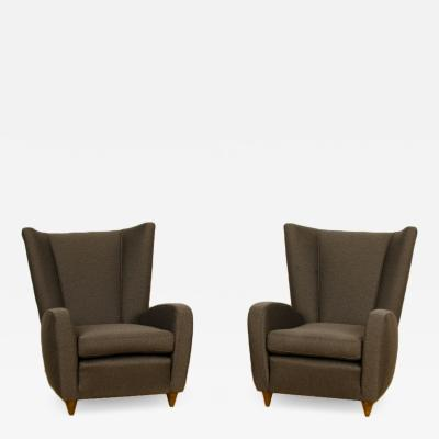 Paolo Buffa A pair of wingback chairs designed by Paolo Buffa Italy Newly upholstered