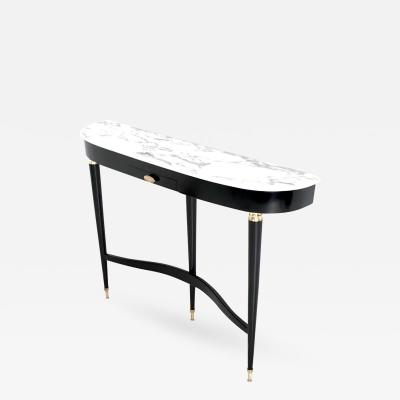 Paolo Buffa Demilune Ebonized Wood Console Table ascribable to Buffa with Marble Top