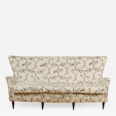 Paolo Buffa Elegant graceful Italian sofa with winged back details attrib to Paolo Buffa