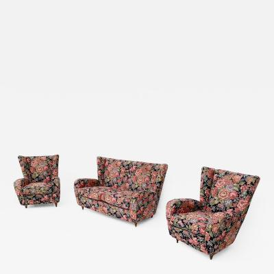 Paolo Buffa Floral Fabric Living Room Set by Paolo Buffa with Wooden Legs Italy 1950s