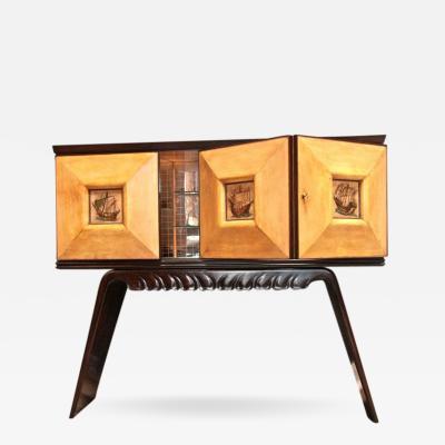 Paolo Buffa Italian 1950s Bar Cabinet Attributed to Paolo Buffa in Mahogany and Birch