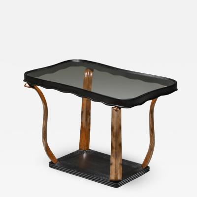 Paolo Buffa Italian Art Deco occasional table with glass top by Pfa 1940s