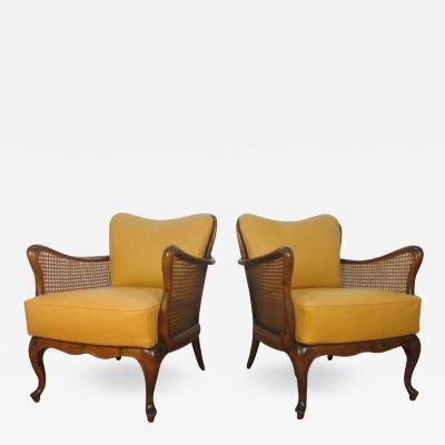 Paolo Buffa Italian Hand Caned Leather Armchairs in the style of Paolo Buffa