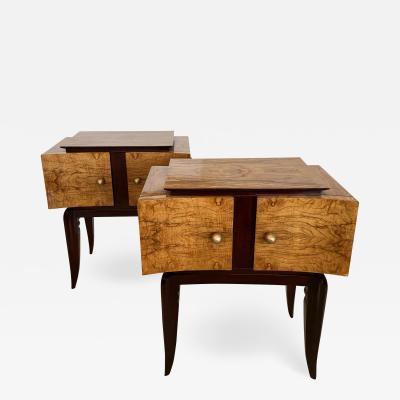 Paolo Buffa Italian Modern Burled Walnut Mahogany Bedside Tables Paolo Buffa