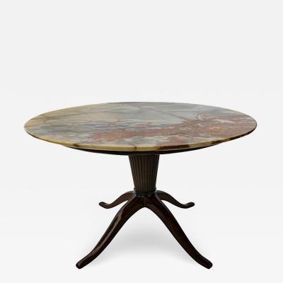 Paolo Buffa Italian Modern Mahogany and Onyx Top Occasional Table Paolo Buffa