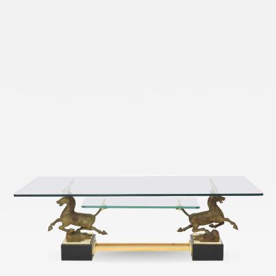 Paolo Buffa Italian Modern Stallion Motif Glass Top Low Table Paolo Buffa