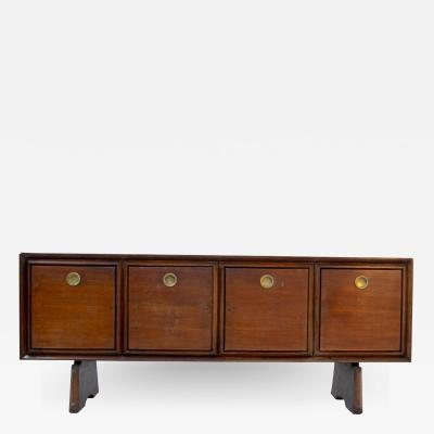 Paolo Buffa Italian Sideboard by Paolo Buffa in Walnut and Brass 1950s