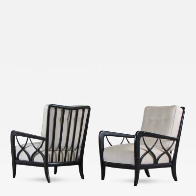Paolo Buffa Lacquered Italian Lounge Chairs in the Style of Paolo Buffa 1950s