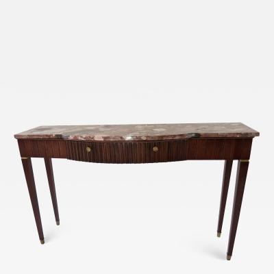 Paolo Buffa Large Paolo Buffa Red Marble Breccia Brass Rosewood Console Table 1950