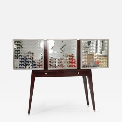 Paolo Buffa Mirror and Wood Cabinet with 3 Doors
