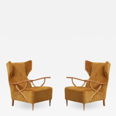 Paolo Buffa Newly Upholstered Pair of Lounge Chairs in Manner of Paolo Buffa Italy