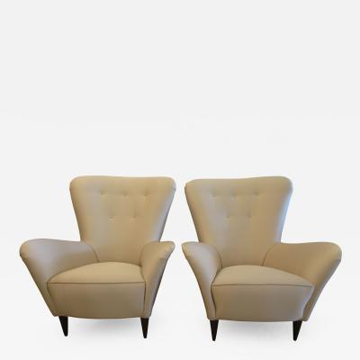 Paolo Buffa Pair Italian Modern Upholstered Armchairs