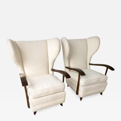 Paolo Buffa Pair Mid Century Modern Italian Polished Mahogany Wool Boucle Lounge Chairs