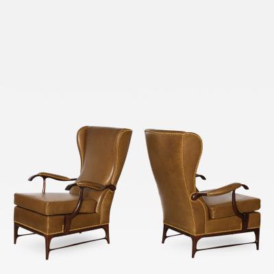 Paolo Buffa Pair of High Back Lounge Chairs by Paolo Buffa
