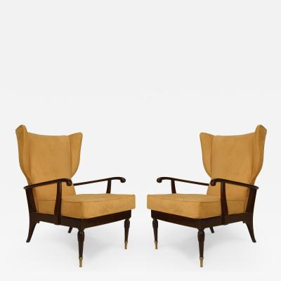 Paolo Buffa Pair of Italian 1950s Stained Mahogany Wing Back Armchairs