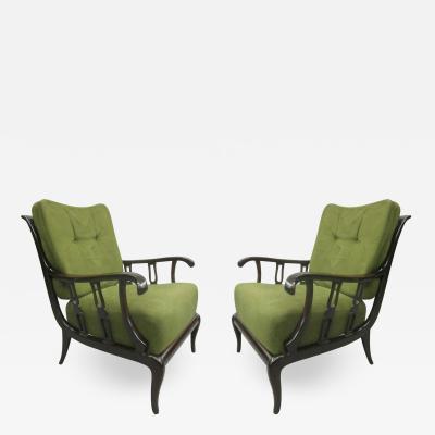 Paolo Buffa Pair of Italian Mid Century Modern Neoclassical Lounge Chairs by Paolo Buffa