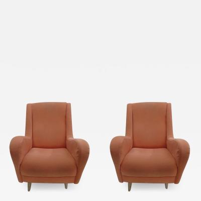 Paolo Buffa Pair of Italian Mid Century Modern Wing Back Lounge Chairs by Paolo Buffa