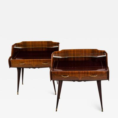 Paolo Buffa Pair of Italian Mid Century Nightstands in the Style of Paolo Buffa circa 1950s